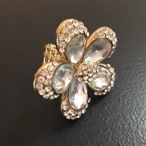 Charming Charlie Gold and Crystal Flower Ring